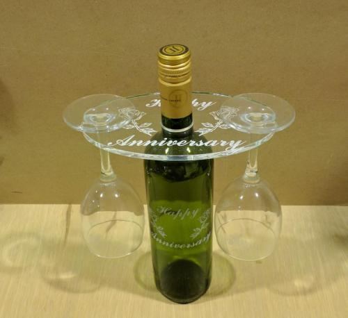 Engrave wine bottle and glass holder