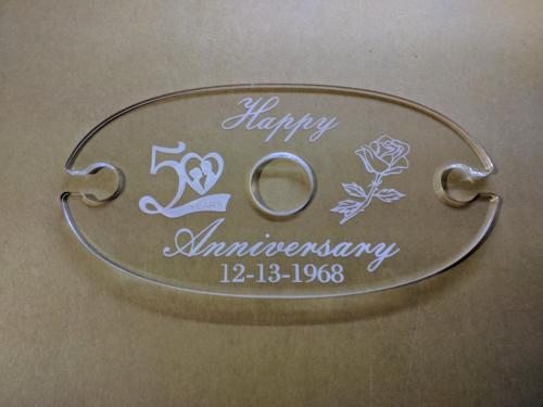 Laser engraved/Cut Acrylic wine glass holder