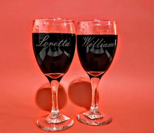 Laser engraved wine glasses