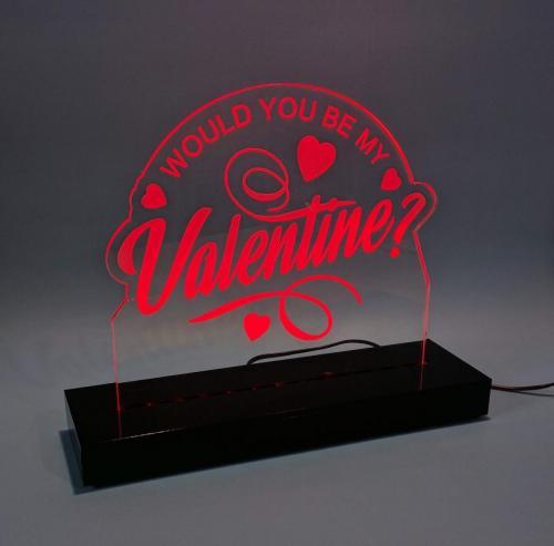 Laser engraved Acrylic LED light with black acrylic base